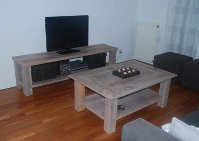 handgemaakte eiken tv meubel en salontafel